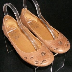 Nine West 'Coby' brown studded leather flats 7.5M
